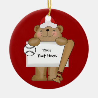 Baseball Bear Bulletin (customizable) Round Ceramic Decoration