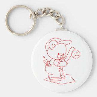 Baseball Bear Redwork Basic Round Button Key Ring