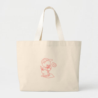 Baseball Bear Redwork Jumbo Tote Bag