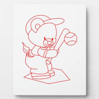Baseball Bear Redwork Plaques
