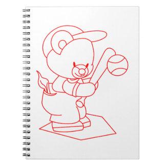 Baseball Bear Redwork Spiral Note Book