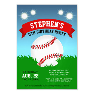 Baseball Birthday Party Magnetic Card