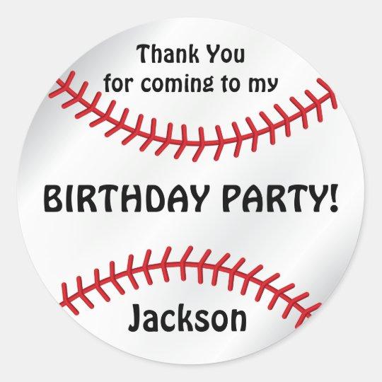 Baseball Birthday    Thank You Classic Round Sticker