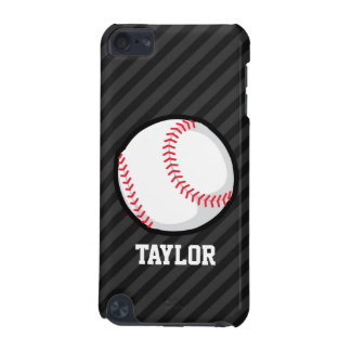 Baseball; Black and Dark Gray Stripes iPod Touch (5th Generation) Cases