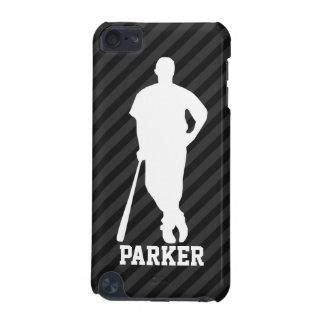 Baseball; Black & Dark Gray Stripes iPod Touch 5G Cover