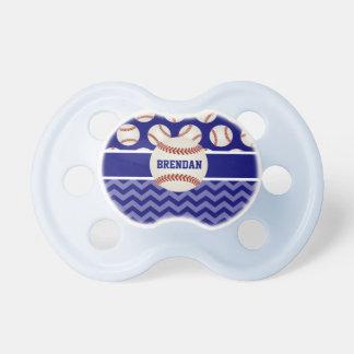 Baseball Blue Chevron Personalized Baby Pacifier