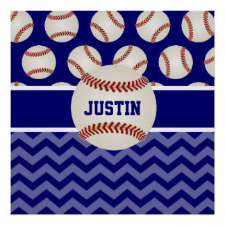 Baseball Blue Chevron Personalized Poster
