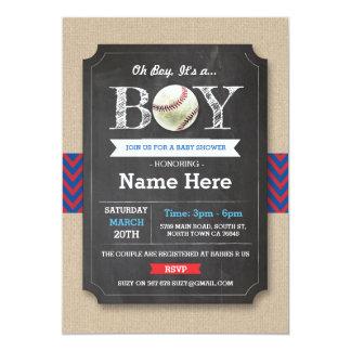 Baseball Blue Red Boy Baby Shower Sports Invite