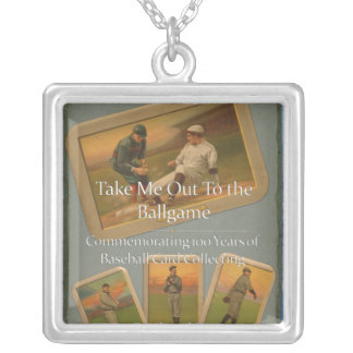 Baseball Book Square Pendant Necklace
