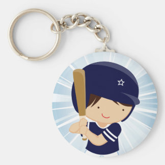 Baseball Boy Batter in Blue and White Basic Round Button Key Ring
