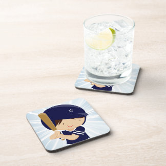 Baseball Boy Batter in Blue and White Drink Coaster