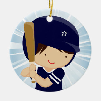 Baseball Boy Batter in Blue and White Double-Sided Ceramic Round Christmas Ornament