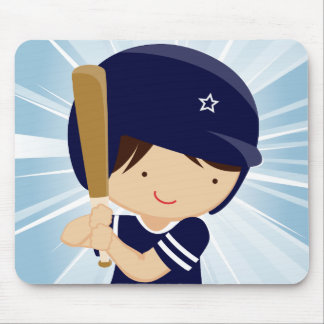 Baseball Boy Batter in Blue and White Mousepads