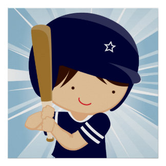 Baseball Boy Batter in Blue and White Poster