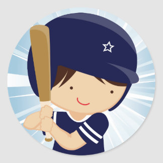 Baseball Boy Batter in Blue and White Round Sticker