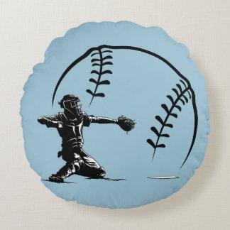 Baseball Boy Catcher Round Pillow