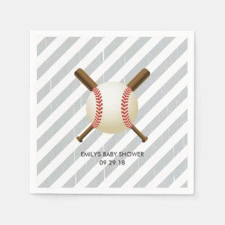 Baseball Boy Grey Stripes Baby Shower Disposable Napkins