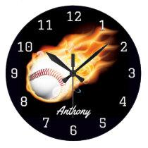 Baseball Boy's Room Personalised Large Clock