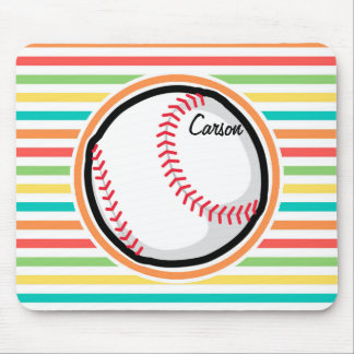 Baseball Bright Rainbow Stripes Mousepads