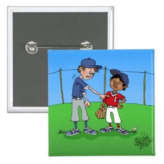 Baseball bully. 15 cm square badge