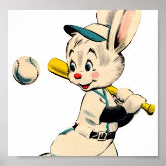 Baseball Bunny In Blue Print