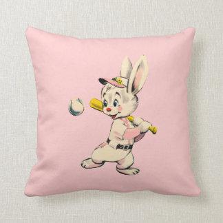 Baseball Bunny In Pink Cushion