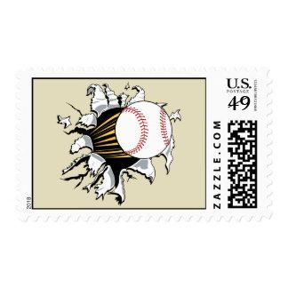 Baseball burst postage stamp