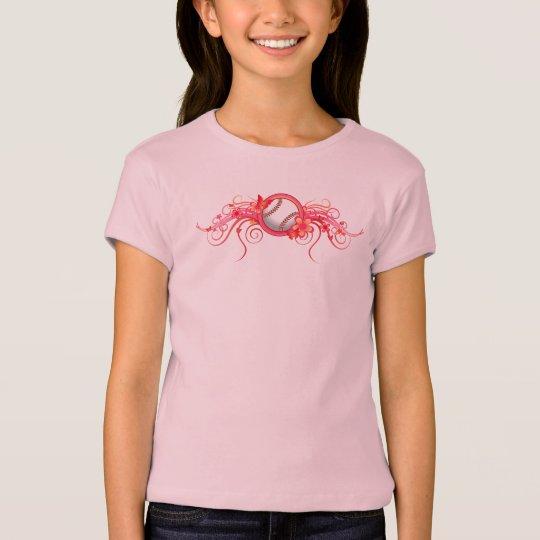 Baseball Butterfly Flower Pink T-Shirt