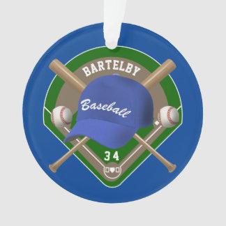 Baseball Cap Bats Diamond Personalized Name Number Ornament