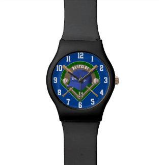 Baseball Cap Bats Diamond Personalized Name Number Watch
