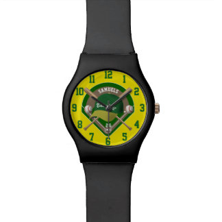 Baseball Cap Bats Diamond Personalized Name Number Watch