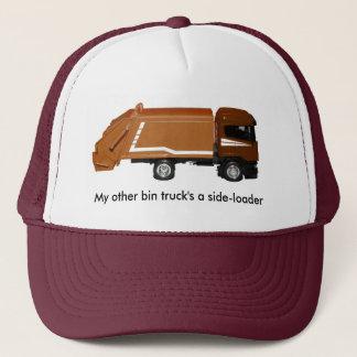 baseball cap, brown bin truck trucker hat