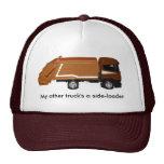 baseball cap, brown garbage truck cap