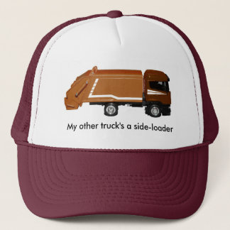 baseball cap, brown garbage truck trucker hat