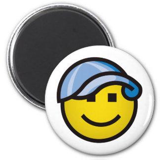 Baseball Cap Smilie - Blue 6 Cm Round Magnet