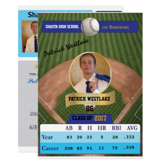 Baseball Card W/ Stats Grad Invitations - blue