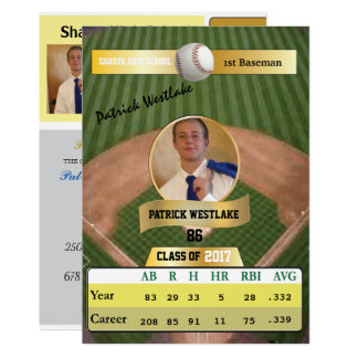 Baseball Card W/ Stats Grad Invitations - gold