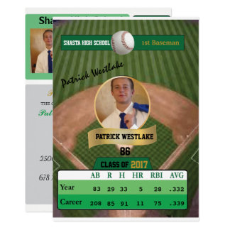 Baseball Card W/ Stats Grad Invitations - green