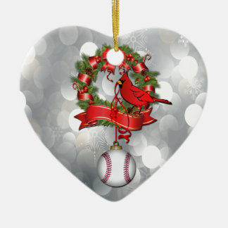Baseball Cardinal in Wreath Ornament