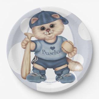 "BASEBALL CAT 3 CUTE CARTOON  Paper Plates 9"" 9 Inch Paper Plate"