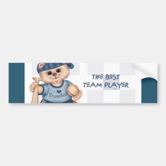 BASEBALL CAT BLUE CUTE Bumper Sticker