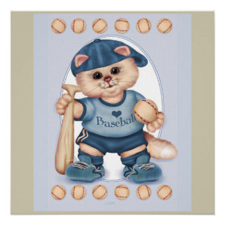 BASEBALL CAT CARTOON Perfect Poster