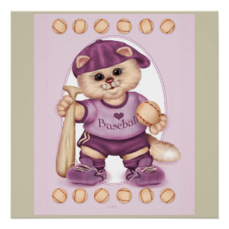 BASEBALL CAT CARTOON Perfect Poster pink