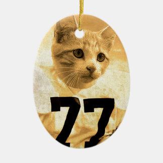 Baseball Cat Christmas Ornament