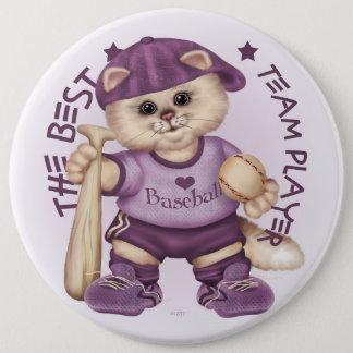 BASEBALL CAT PINK CARTOON Colossal, 6 Inch 6 Cm Round Badge