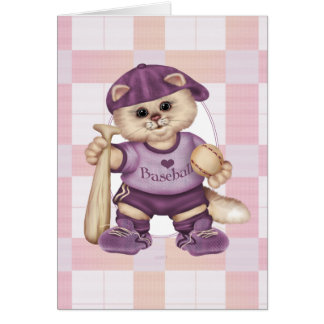 BASEBALL CAT PINK CARTOON NOTE CARD
