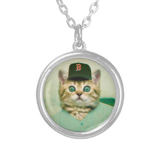 Baseball Cat Silver Plated Necklace