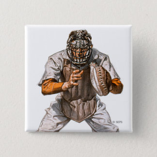 Baseball Catcher 15 Cm Square Badge