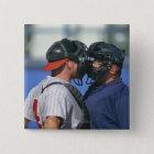 Baseball Catcher and Umpire Arguing 15 Cm Square Badge