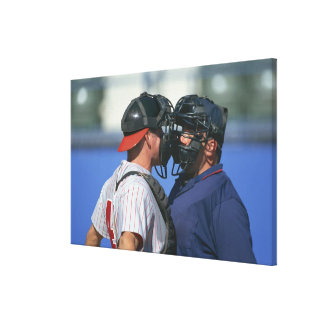Baseball Catcher and Umpire Arguing Canvas Print